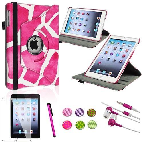 INSTEN 5in1 Pink Giraffe 360 Swivel Leather Case Protector For iPad Mini 3 / 1 / 2 with Retina Display (Auto Sleep/Wake)