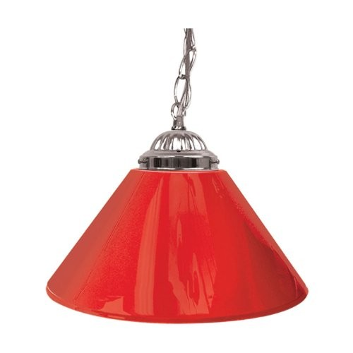 Trademark 14 in. Single Shade Red and Silver Hanging Lamp