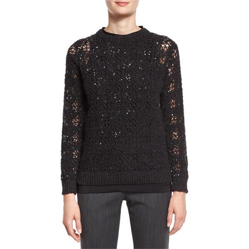 BRUNELLO CUCINELLI Houndstooth-Embroidered Crewneck Sweater, Onyx