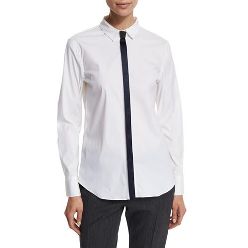 BRUNELLO CUCINELLI Long-Sleeve Blouse W/Satin Tie Detail, Navy/White