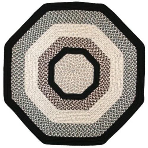 Thorndike Mills Green Mountain Onyx Granite Black Area Rug; Octagon 8'