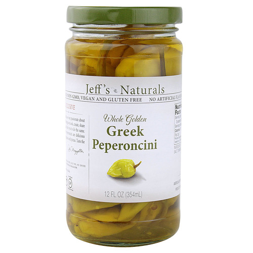 Jeff's Naturals Whole Golden Greek Peperoncini -- 12 fl oz