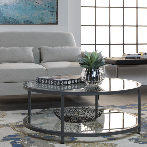 Studio Designs Home Camber Round Coffee Table - Camber Round Coffee Table Pewter / Clear Glass