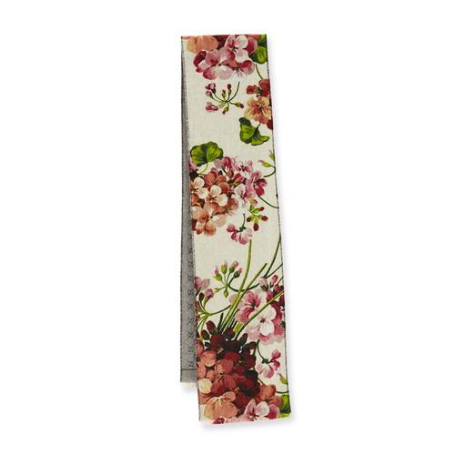 GUCCI Miniorophin Floral & Logo Wool Scarf, White/Pink