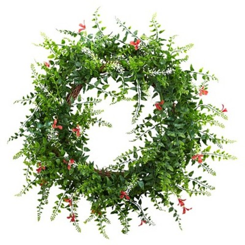 Nearly Natural 18 in. Floral and Fern Double Ring Wreath with Twig Base