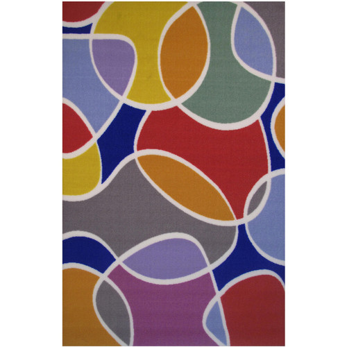 Groovy Multi-colored Accent Rug (3'3 x 4'8)