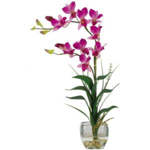 Nearly Natural 22 in. Purple Dendrobium Silk Orchid Flower Arrangement
