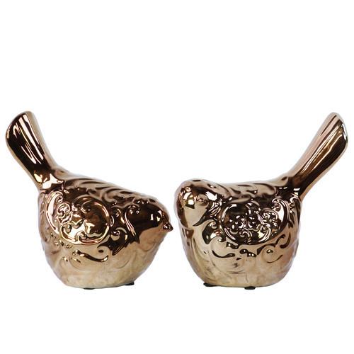 Ceramic Bird Set Of Two Bronze