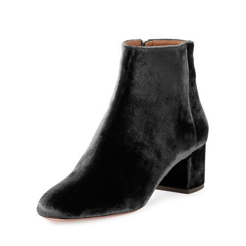 AQUAZZURA Brooklyn Velvet Block-Heel Boot