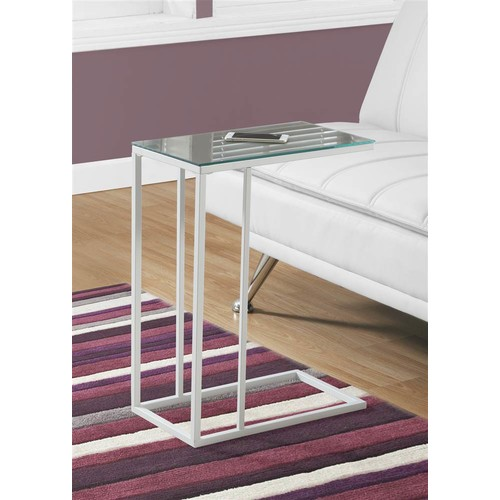 Monarch Specialties Accent Table with Mirror Top in White Finish
