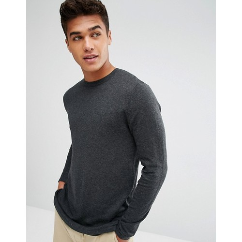 ASOS Longline Cotton Sweater In Charcoal