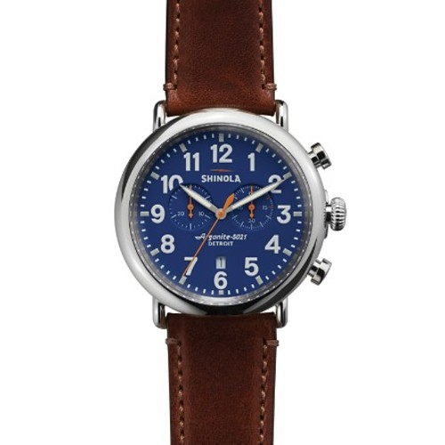 The Runwell Chronograph Brown Strap Watch, 47mm