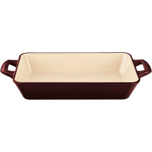 La Cuisine Medium Deep Cast Iron Roasting Pan with Enamel Finish in Ruby