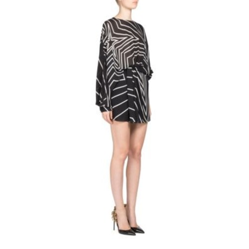 SAINT LAURENT Geometric Print Asymmetrical Dress