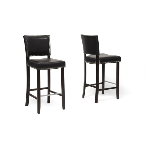 Baxton Studio Aries Black Modern Bar Stool with Nail Head Trim-set of 2