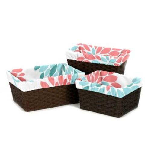 Sweet Jojo Designs Emma Basket Liners in White/ Turquoise (Set of 3)