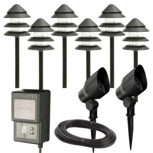 Hampton Bay Low Voltage Halogen Black 6 Path Light and 2 Flood Light Kit