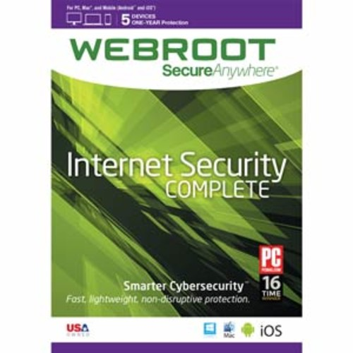 Webroot Internet Security Complete + Antivirus | 2017 | 5 Devices | 1 Year Subscription | PC/Mac Disc