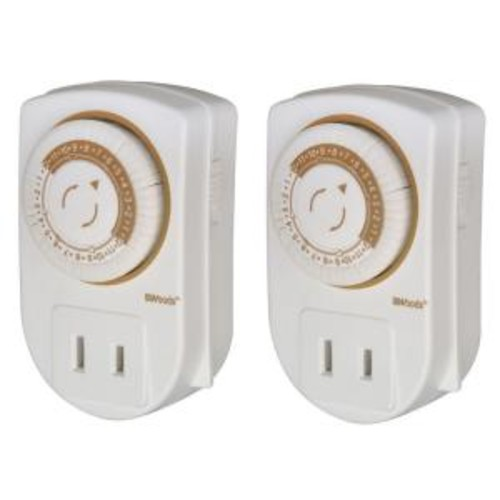 Woods 15-Amp 24-Hour Indoor Plug-In Mini Single-Outlet Mechanical Timer, White (2-Pack)