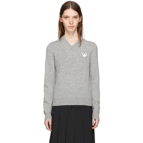 COMME DES GARÇONS PLAY Grey & White Heart Patch V-Neck Sweater