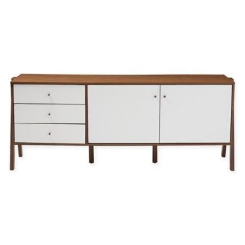 Baxton Studio Harlow Sideboard Storage Cabinet in White/Walnut