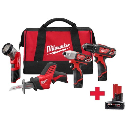 Milwaukee M12 12-Volt Lithium-Ion Cordless Combo Tool Kit (4-Tool) W/ Free M12 6.0Ah Battery