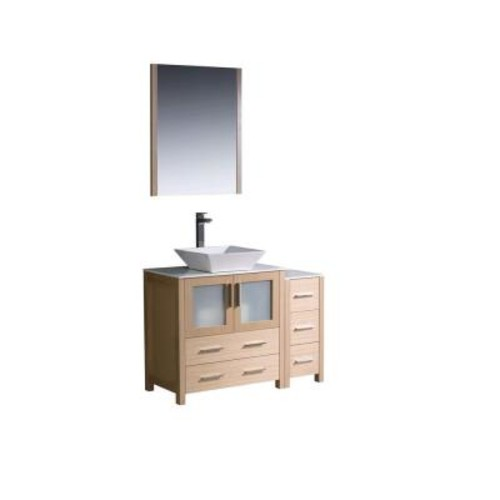 Fresca Torino 42 in. Vanity in Light Oak with Glass Stone Vanity Top in White with White Basin and Mirror