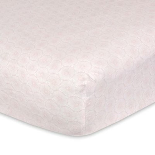 Just Born Keepsake Floral Printed Fitted Crib Sheet in Pink