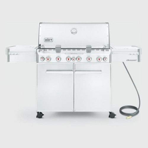 Weber Summit S-670 6-Burner Natural Gas Grill in Stainless Steel with Built-In Thermometer and Rotisserie