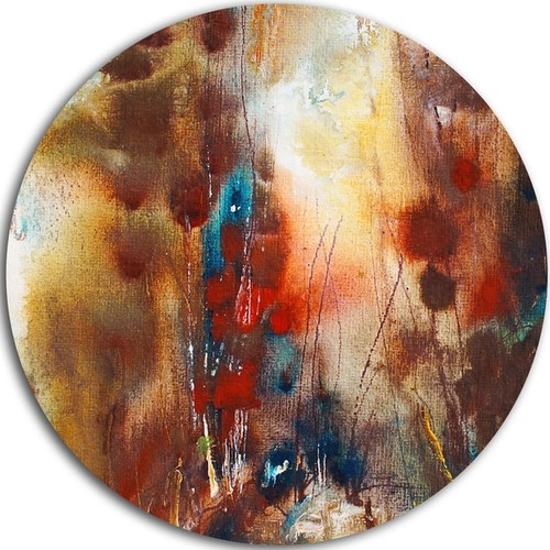 Designart 'Artistic Brown' Abstract Glossy Metal Wall Art [option : 11 x 11 - Disk of 11 inch]