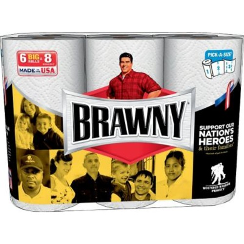 Brawny 24 Large Pick-A-Size Paper Towel Rolls, 2-Ply, 6 Rolls/Pack, 4 Packs/Case (43910)