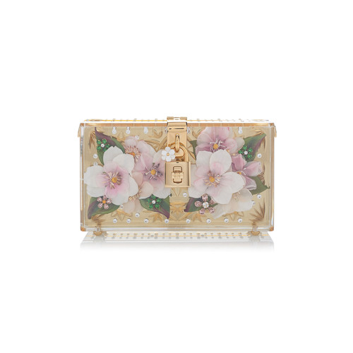 Crystal-Embellished Floral Clutch
