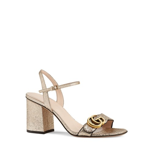 GUCCI Marmont Metallic Open Toe Sandals