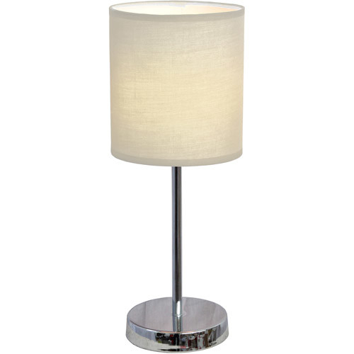 Simple Designs 11.89 in. Chrome Mini Basic Table Lamp with White Fabric Shade