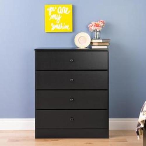 Prepac Astrid 4-Drawer Dresser Black BDBR-0401-1