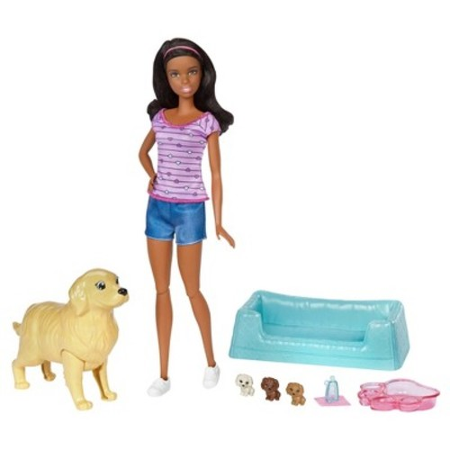 Barbie Newborn Pups and African American Doll Playset
