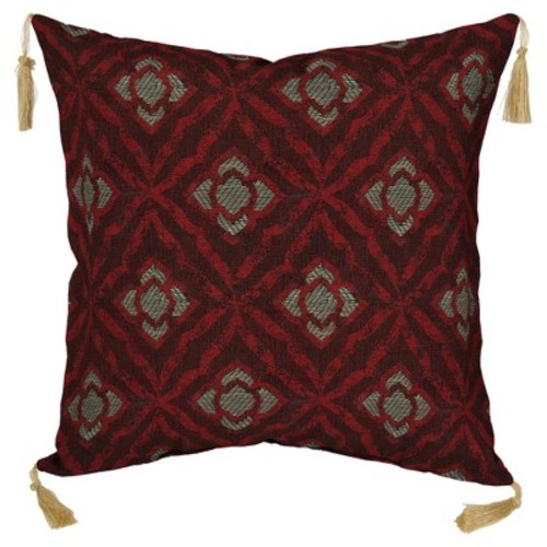 Geo Floral 2pc Outdoor Toss Pillow Set w/ Tassels - Berry - Bombay Outdoors