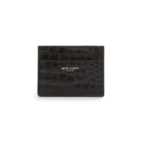 SAINT LAURENT Croc-Embossed Leather Card Case