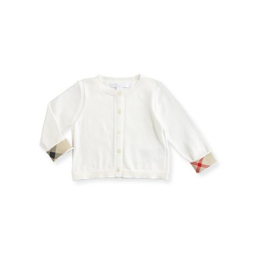 BURBERRY Rheta Cotton Button-Front Cardigan, White, Size 6M-3