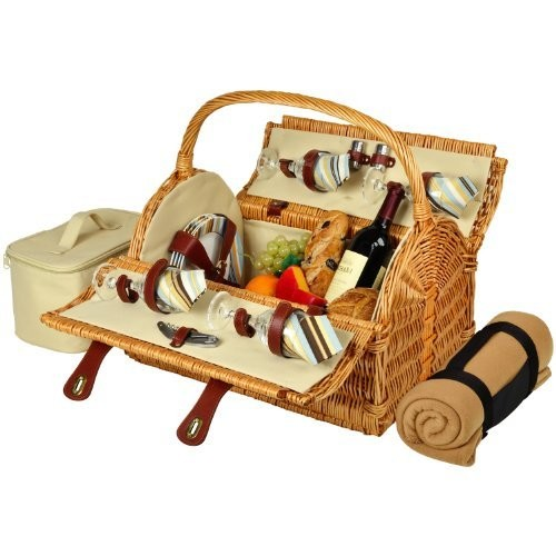 Picnic at Ascot Yorkshire Willow Picnic Basket with Service for 4 with Blanket - Santa Cruz [Wicker with Santa Cruz Plates/Napkins]