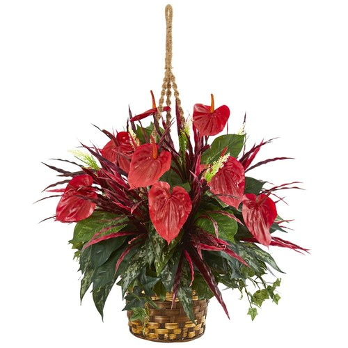 Nearly Natural Mixed Anthurium Hanging Basket Artificial Plant