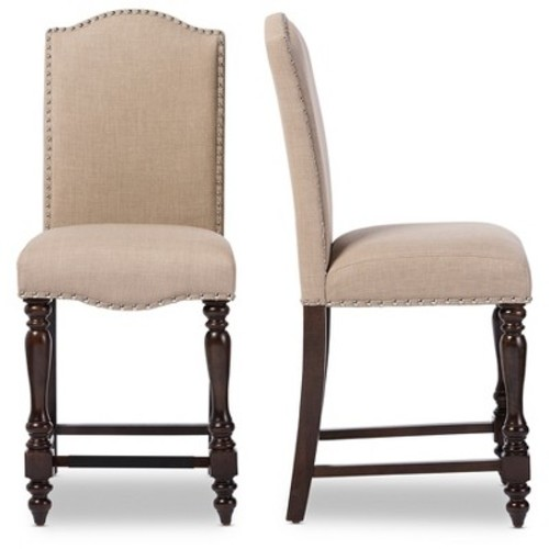 Zachary Chic French Vintage Oak Linen Fabric Upholstered Counter Height Dining Chair - Brown, Beige - Baxton Studio