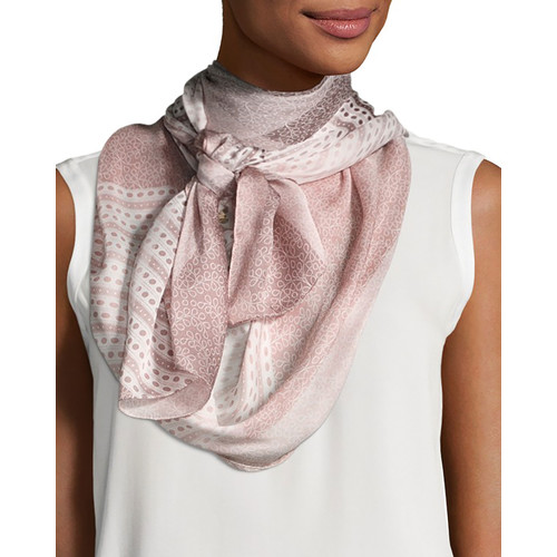 BURBERRY Ultra Wash Mega Check Silk Scarf, Rose
