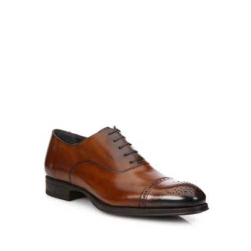 Medallion Leather Cap Toe Oxfords