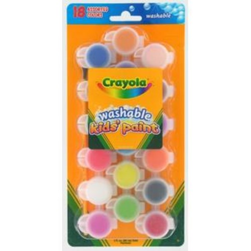 Crayola 18 Count Assorted Colors Washable Kids Paint 54-0125 - Pack of 6