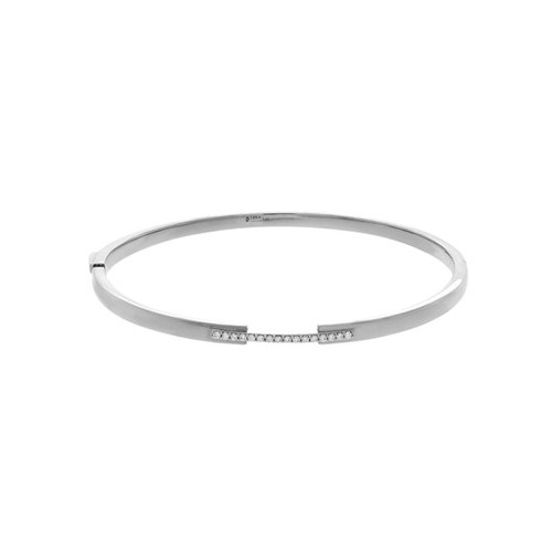Hinged Diamond Bangle Bracelet, 14k White G