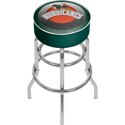 Trademark Global University of Miami Honeycomb 31 in. Chrome Padded Bar Stool