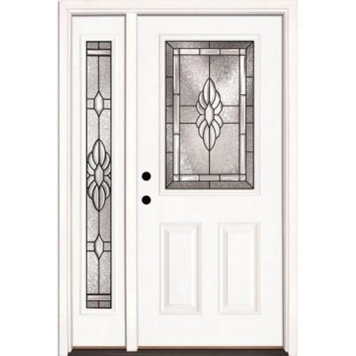 Feather River Doors 50.5 in. x 81.625 in. Sapphire Patina 1/2 Lite Unfinished Smooth Right-Hand Fiberglass Prehung Front Door with Sidelite