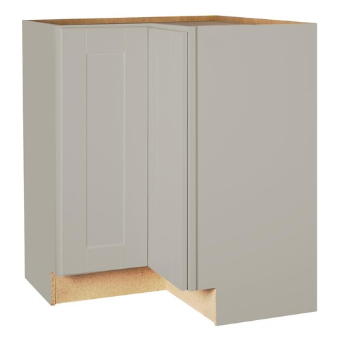 Hampton Bay Shaker Assembled 28.5x34.5x16.5 in. Lazy Susan Corner Base Kitchen Cabinet in Dove Gray