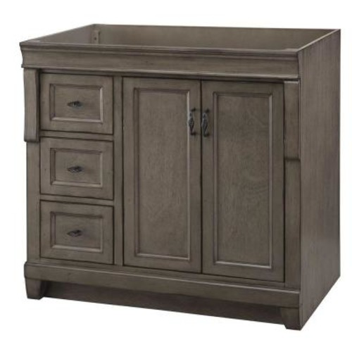Home Decorators Collection Naples 36 in. W Bath Vanity Cabinet Only in Distressed Grey with Left Hand Drawers